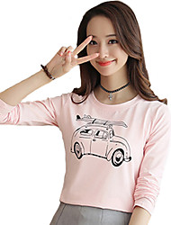 Women's Casual/Daily Simple / Cute Fall T-shirt,Print Round Neck Long Sleeve Pink / White Cotton Thin