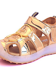 Girl's Sandals Spring / Summer / Fall Sandals PU Outdoor / Casual Flat Heel Bowknot Pink / Silver / Gold Walking