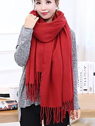 Men And Women Oversized Cashmere Fringed Shawl Solid Color Red Black Thick Long Dual Warm Scarves
