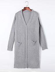 Women's Fashion V Neck Pure Cardigan  Long Sweaters