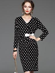 CELINEIA Women's Work Vintage Sheath DressPolka Dot V Neck Knee-length Long Sleeve Black Cotton / Polyester