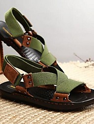 Men's Sandals Summer Sandals / Flats Leather Casual Flat Heel Others Black / Green Others