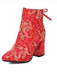 Women's Boots Fall / Winter Heels Silk Wedding Chunky Heel Satin Flower Red Walking
