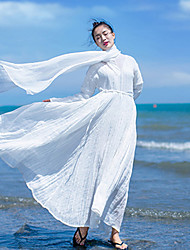 Ramie Cotton Women's Beach / Holiday Vintage Loose DressSolid V Neck Maxi Long Sleeve White Linen