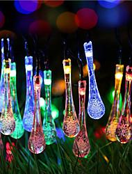 noël solaire lumières goutte d'eau 13ft 20 conduit étanche chaîne de lumière solaire en plein air pour les jardins, mariage, arbre de noël