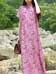 Cynthia Women's Casual/Daily Vintage DressFloral Stand Maxi Short Sleeve Linen Summer