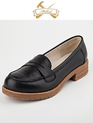 Women's Loafers & Slip-Ons Fall Winter Comfort Leather Outdoor Flat Heel Ribbon Tie Black Brown Camel Walking
