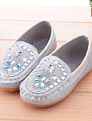 Girls' Flats Synthetic Fall Casual Crystal Flat Heel Silver Blushing Pink Golden Under 1in