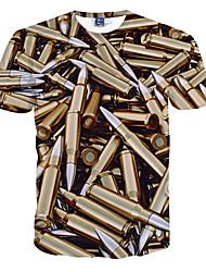 Camiseta De los hombres Estampado-Casual / Formal / Deporte-Poliéster-Manga Corta-Oro