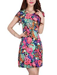 Feminino Bainha Vestido,Casual / Tamanhos Grandes Simples / Moda de Rua Estampado Decote Redondo Acima do Joelho Manga Curta Vermelho