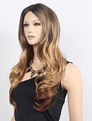 Free Part Long Wave Synthetic Women Wig Cosplay Midsplit Wigs Two Tone Black Blonde Synthetic Wig