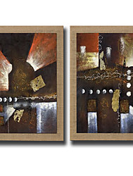 2 Panels Oil Painting Abstract Pictures Hand Painted Pictures On Natura Linen With Stretched Frame