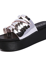 Damen-Sandalen-Lässig-Leder-KeilabsatzSilber