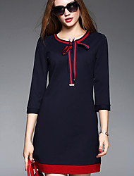 BOMOVO Women's Round Neck 3/4 Length Sleeve Above Knee Dress-B16QBB4