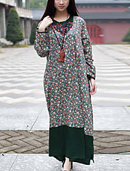 Cynthia Women's Casual/Daily Chinoiserie Tunic DressFloral Round Neck Maxi Long Sleeve Green Cotton Spring