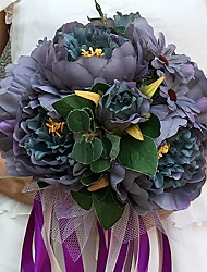 """Wedding Flowers Round Peonies Bouquets Wedding Party/ Evening Satin 11.02""""(Approx.28cm)"""