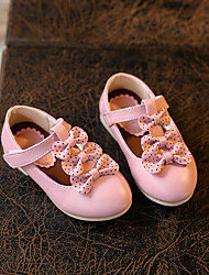 Girl's Flats Spring / Fall Flats PU Outdoor Flat Heel Bowknot / Magic Tape Pink / White Others