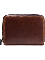 Unisex Card & ID Holder Cowhide Casual Brown