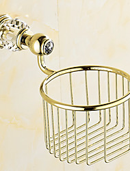 European Style Solid Brass Crystal Gold Bathroom Shelf Bathroom Toilet Paper Holder Bathroom Accessories