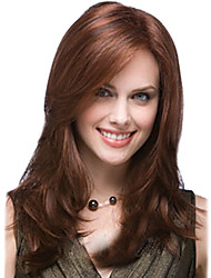 Long Body Wave Synthetic Hair Wigs Side Bang Honey Brown Heat Resistant