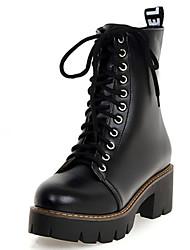 Damen-Stiefel-Büro / Kleid / Lässig-Lackleder / Kunstleder-Blockabsatz-Pumps / Reitstiefel / Modische Stiefel / Komfort / Armeestiefel /