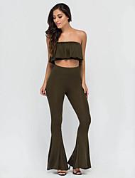 Tee-shirt Pantalon Costumes Femme,Couleur Pleine Décontracté / Quotidien Sexy Eté Sans Manches Bateau Vert Polyester Fin
