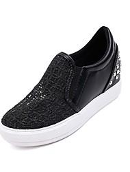 Damen-Flache Schuhe-Lässig-Kunststoff-Keilabsatz-Wedges-Schwarz / Weiß