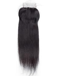 8inch to 20inch Черный Изготовлено вручную Прямые Человеческие волосы закрытие Умеренно-коричневый Швейцарское кружево about 30g грамм