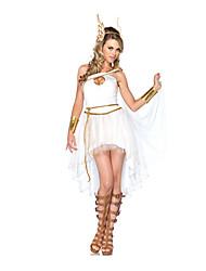 Fantasias Fantasias de Filme e Tema de TV Dia Das Bruxas Branco Cor Única Terylene Vestido / Mais Acessórios