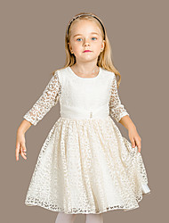 Girl's Formal Solid DressCotton Spring / Fall Beige
