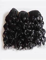 Короткая длина 50 г / шт. Бразильские виргинские волосы глубокая волна натуральный черный необработанные сырые девственные человеческие волосы ткут