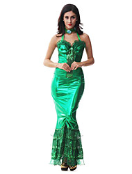 Costumes de Cosplay / Costume de Soirée Sirène Fête / Célébration Déguisement Halloween Vert Imprimé Robe / Coiffure Halloween Féminin