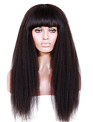 8-12 inch Braizlian virgin remy human hair glueless /lace front Kinky straight wigs with full bang for African Americans