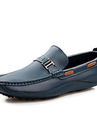 Masculino-Sapatos de Barco-Mocassim-Rasteiro-Preto / Azul / Marrom-Couro-Escritório & Trabalho / Casual