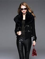 BOMOVO Women's Shirt Collar Long Sleeve Wool & Blends Black / Khaki-B16QBF6