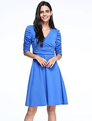Women's Vintage Fashion Slim V Neck Solid Color Long Sleeve Dress