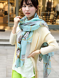 Female Long Scarf Watch Chain Pattern Printing Voile Scarf Shawl