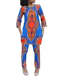 Tee-shirt Pantalon Costumes Femme,Imprimé Sortie / Décontracté / Quotidien Vintage Toutes les Saisons Manches ¾ Col ArrondiBleu /