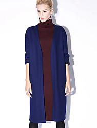 nouvelle avant occasionnel / journalier simple ressort col v coatembroidered manches longues / chute bleu / gris des femmes