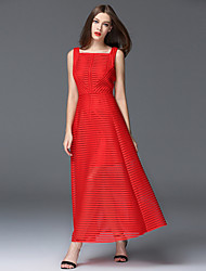 frmz sortir gaine sophistiquée bustier dresssolid maxi sans manches rouge polyester / noir