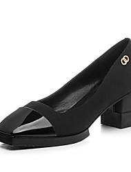 Damen-High Heels-Lässig-Leder-BlockabsatzSchwarz