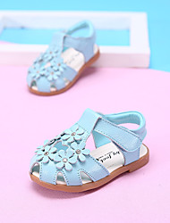 Girl's Sandals Summer Comfort Leather Outdoor Flat Heel Flower Blue / Pink / White Walking