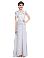Lanting Bride® Sheath / Column Mother of the Bride Dress Floor-length Short Sleeve Chiffon with Beading / Sequins