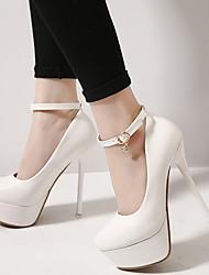 Damen-High Heels-Lässig-Kunstleder-StöckelabsatzSchwarz / Weiß
