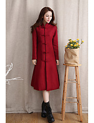 Women's Casual/Daily Simple CoatSolid Round Neck Long Sleeve Fall / Winter Blue / Red Wool Medium
