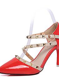 Damen-High Heels-Lässig-PU-Stöckelabsatz-Absätze-Schwarz / Rot / Weiß
