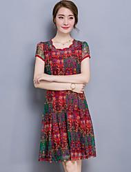 Women's Plus Size Simple Sheath DressPatchwork Round Neck Knee-length Short Sleeve Blue / Red Cotton Summer Mid Rise
