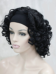 New Fashion 3/4 Wig With Headband Women's Short  Curly Synthetic Half Wig
