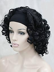nouvelle mode 3/4 perruque avec courte perruque synthétique bouclés moitié de bandeau femmes