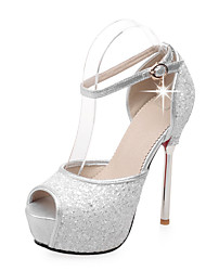 Women's Sandals Spring Summer Fall Synthetic Wedding Dress Party & Evening Stiletto Heel Platform Rhinestone SequinGold White Blushing